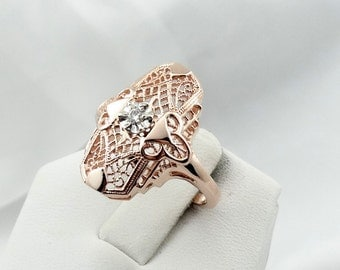 Gorgeous Vintage 14K Rose Gold Filigree Ring With A Dazzling 2.5 mm Round Old European Cut Diamond  #ROSE-GR1