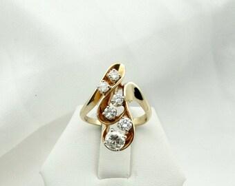 Brilliant Multi-Diamond Avant Garde Ring in 14K Yellow Gold. #AVANT-GR1