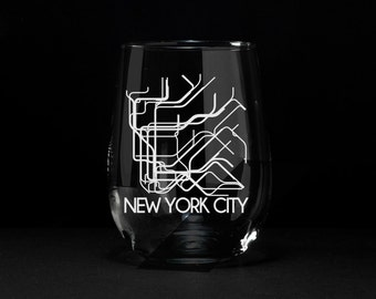 New York City, NYC Wine Glass, NYC Subway, NYC Subway Etched Glass, New York City Subway Wine Glass, New York City Subway