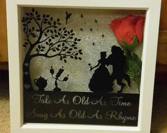 Beauty And The Beast Disney 'Tale As Old As Time, Song As Old As Rhyme' Box Frame