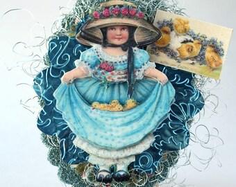 Spring Blue Girl Shelf Sitter