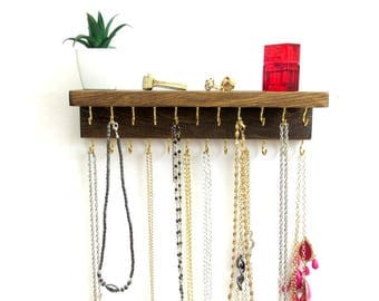 "12"" Necklace Holder Wall, 23 Hooks, 3 in. Shelf, 13 Colors, Jewelry Organizer, Wall Jewelry Rack, Necklace Storage,"