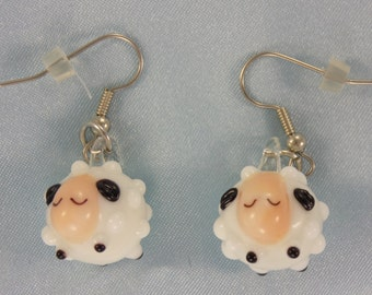 Sheep Earrings - White Glass Sheep - White Resin Sheep - Black Resin Sheep -  Glow in the Dark Glass Sheep - White with Black Face Sheep