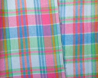 Neon pink green blue white plaid wool acrylic blend fabric