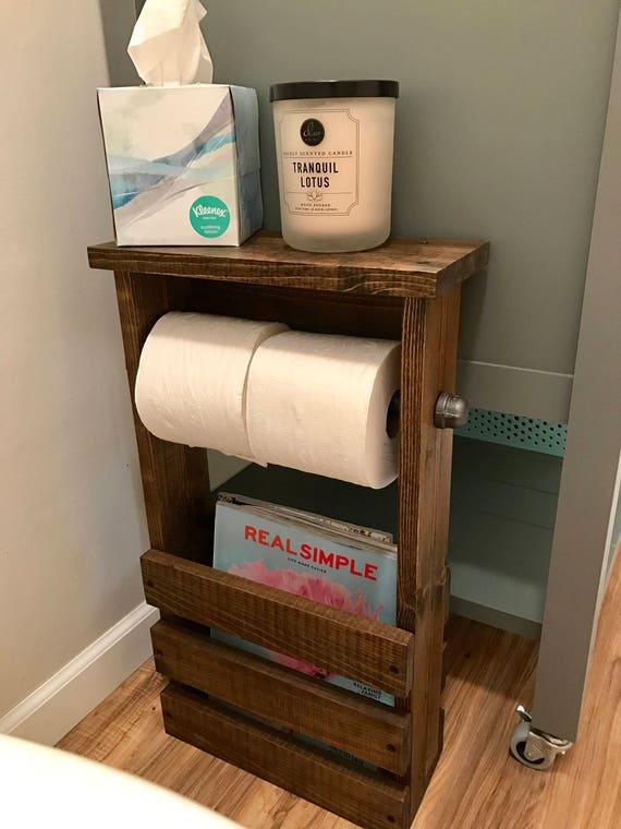 Bathroom Toilet Paper Holder, Bathroom Organizer, Bathroom Storage, Rustic Toilet  Paper Holder, Industrial Bathroom Organizer
