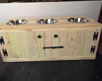 Rustic Knacks Dog Feeding Station with Cabinet, Triple Diner Feeder, 3 Bowl Feeder Station,  Dog Feeder, Wooden Feeder Station, Pet Feeder