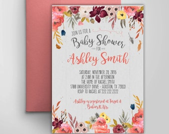 Electronic Printable Autumn Watercolor Floral Baby Shower Invitation | Electronic Fall Floral Baby Shower Card |