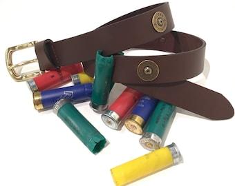 Ducks Unlimited All leather belt with DU shot gun 12 GA concho
