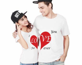 I Love You ForEver, Download, Stamp Design, x2 Couple T-Shirts STAMP SET, couple, Gift For him, Gift For her, Gift for Couple, Lovers
