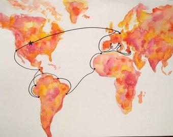Semester at Sea Fall 2016 Watercolor Map