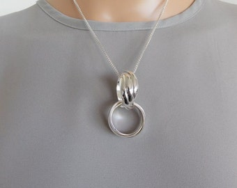 Silver Double Ring Drop Pendant Necklace