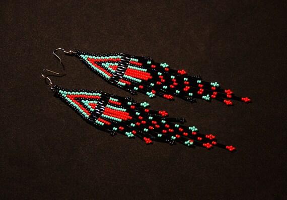 Long Dangling Earrings, Brick Stitch Earrings, Native American Style Beaded Earrings, Seed Bead Earrings, Turquoise Red Black Earrings