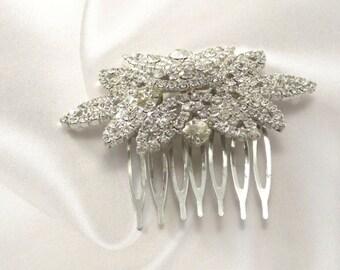 Jeweled Hair Comb, Rhinestone Hair Comb, Flower Hair Comb, Bridal Comb, Crystal Comb, Wedding Hair Comb, Bridal Hair Comb, Jeweled Hair Comb