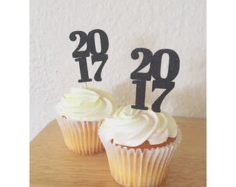 2018 New Years Eve Cupcake Toppers- Class of 2018 cupcake topper- Happy New Year Decorations- 2018 toppers - 2018 decorations - Set of 12