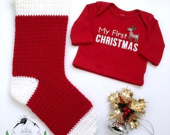 Décoration murale de Noël au crochet, bas de Noël en tricot à suspendre, article de décoration pour le temps des fêtes, ornement