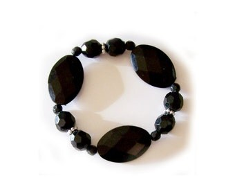 Black Bracelet - Wide - Big Black Oval Faceted & Round Faceted Bead Bracelet - Silver Spacer Accents - Stretch Bangle - Expansion