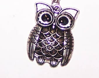 Owl Jewelry / Owl Necklace / Owl Pendant / Antiqued Silver with Black Eyes / SALE / item C272