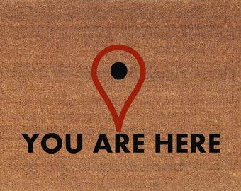 You Are Here   Map Locator Icon Funny Door Mat   Coir Doormat Rug   2