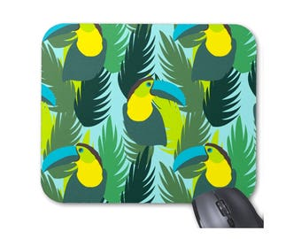 Toucan Modern Tropical Print Mouse Pad/Mousepad, Palm Leaves, Green/Aqua/Yellow