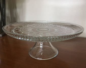 Vintage Pressed Glass Fauceted Jewel Pattern Pedestal Cake Plate, perfect for Bridal/Wedding/Shower/Event M794-1