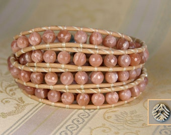 Leather Wrap Bracelet, Sunstone, Faceted 6mm Semiprecious Gemstone, Wraps 4x, Nude Leather, Handmade, Pewter Button, Blush Color