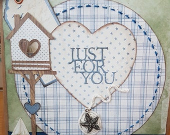 Just for you personalised  nautical themed card for her or him, Fathers Day Stitched effect rustic sailing Love you card,  handmade card