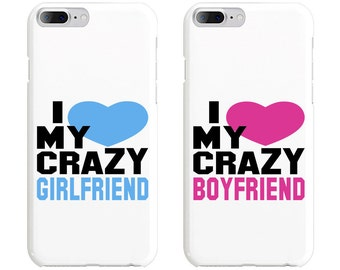 I Love My Crayz Girlfriend & Boyfriend Couple Phone Case Mate - iPhone, Samsung Galaxy Phone Cases for Couples - Matching Phone Case