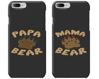 Papa Bear & Mama Bear Couple Phone Case Mate - iPhone, Samsung Galaxy Phone Cases for Couples - Matching Phone Case