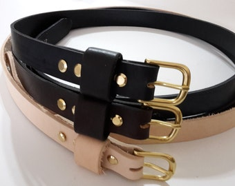 "1""  hand made 3mm thick leather belt with solid brass  buckle mens womens  by ranch land"