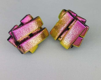 Pink-Dichroic Glass Stud Earrings-925 Silver