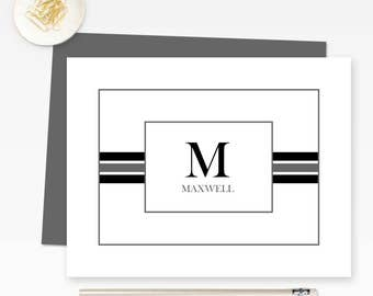 Personalized Stationery, Custom Monogram Note Cards, Personalized Monogrammed Stationary Set of 10 folded note cards with envelopes FLDC006