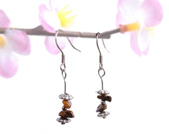 Stone earrings tiger eye natural gemstone handmade jewelry energy healing crystal bohemian earthy organic romantic minimalist fairy boho fyc