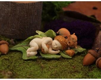 Fairy Garden  - Sleeping Acorn Fairy Baby With Squirrel - Miniature