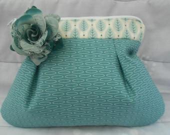 Clutch purse-Clutch bag-Teal clutch bag-Lightweight clutch-Zippered clutch-Moda fabric clutch