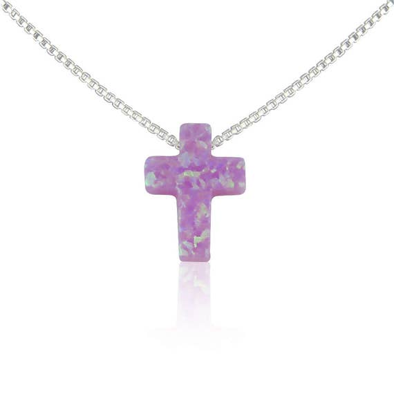 "Pink opal cross necklace in real sterling silver box or link chain. from size 12 kids to adult choker and up to 22"", waterproof"