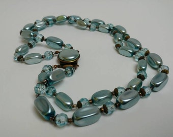Vintage 50s babyblue double necklace