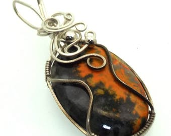 Bumble Bee Jasper Gemstone Wire Wrapped Pendant Design 1