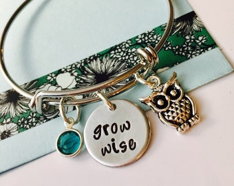 Owl Bracelet, Owl Jewelry, Grow Wise, Adjustable Bracelet, Owl Charm Bracelet, Personalized Jewelry, Owl gift