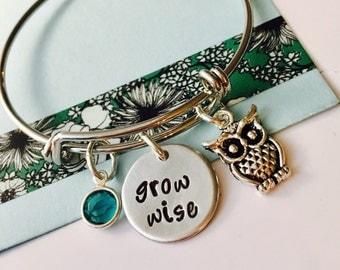 Owl Bracelet, Owl Jewelry, Grow Wise, Adjustable Bracelet, Owl Charm Bracelet, Personalized Jewelry, Owl gift