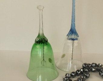 Pair of Czech Fine Glass Bells - Handmade