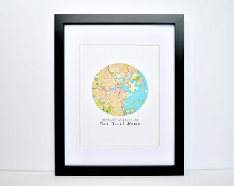 Map Print, First Home Gift, Closing Gift, Unique Housewarming Gift, Map Present, Circle Map Print, Gift for new homeowners, First Home
