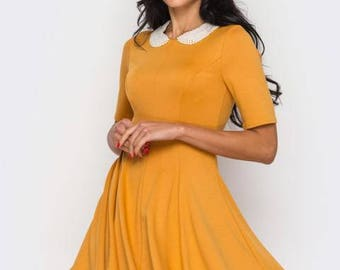 Mustard Spring Casual dress Jersey Short sleeve dress Peter Pen collar Office clothing