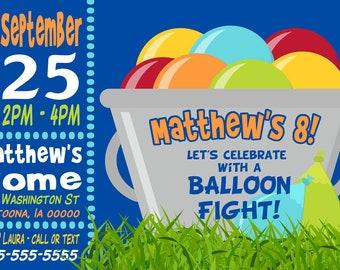 Custom Water Balloon Birthday Party Invitation Print at Home Digital File