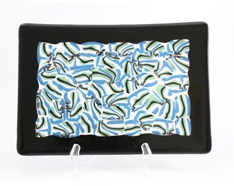 Sushi serving plate in fused glass   A modern design piece of art for your sushi!