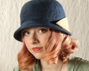 Bonnet Cloche Cloche Hat in Petrol Blue Felted Wool W/Camel Bow - Wool Hat in Petrol Blue - Wool Felt Bonnet - Wool Cloche