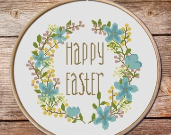 Easter Cross Stitch Pattern, Easter wreath Stitch Pattern, modern cross stitch, Cross Stitch Pattern, funny cross stitch,easy cross stitch
