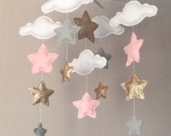 Baby mobile - Baby girl mobile - Cot mobile - Star mobile - Cloud Mobile - Nursery Decor - Clouds and stars - Grey, pale pink and gold