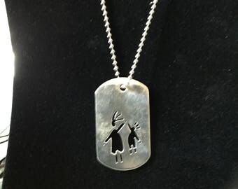 SIGNED ANNI STERLING. Silver Dog Tag Boy & Girl Necklace