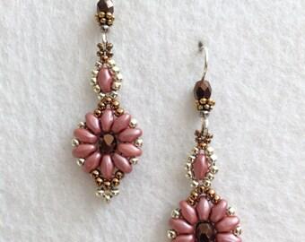 Pink-ish Salmon Bronze Crystal Flower Beaded Earrings