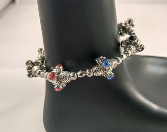 Multicolor bracelet, silver beaded bracelet, bracelet silver, bracelet multicolor, blue bracelet, pink bracelet, green bracelet